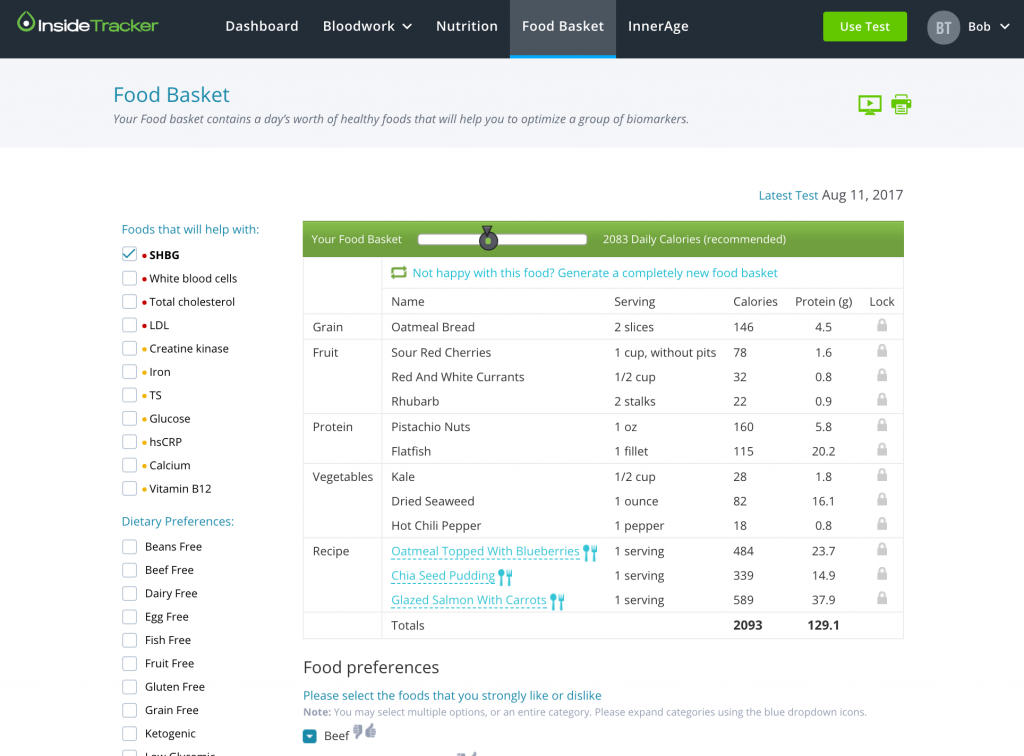 InsideTracker food basket screen