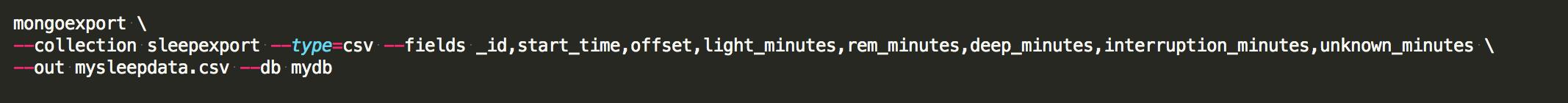 MongoDB export query